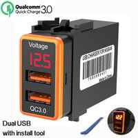 Chelink 12V Dual USB Car Charger QC3.0 LED Voltmeter Power Adapter With Digital Voltage Display For Nissan