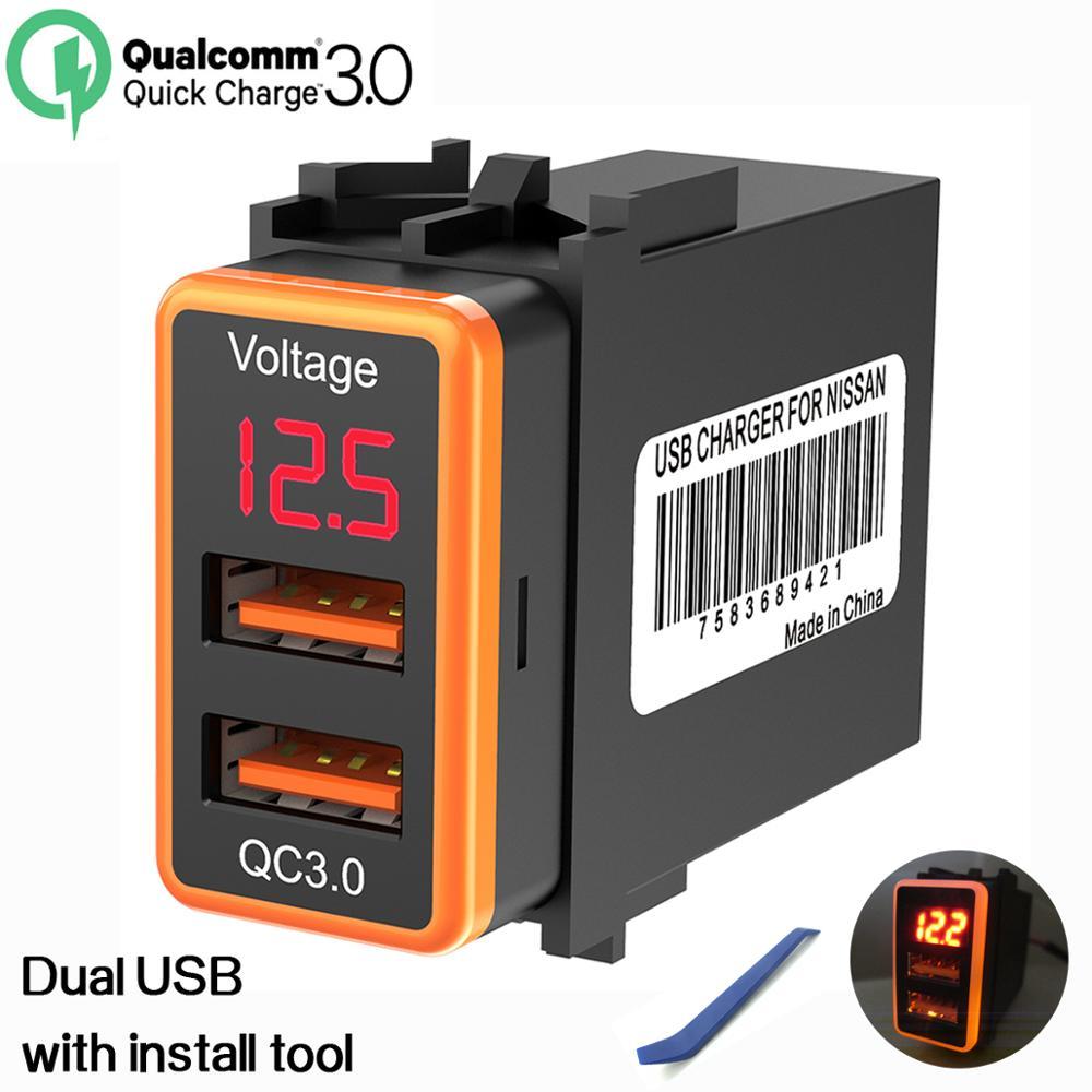 Chelink QC3.0 12V Dual USB Car Charger Adaptador de Alimentação Com Display Digital de Tensão Voltímetro LED Para Nissan