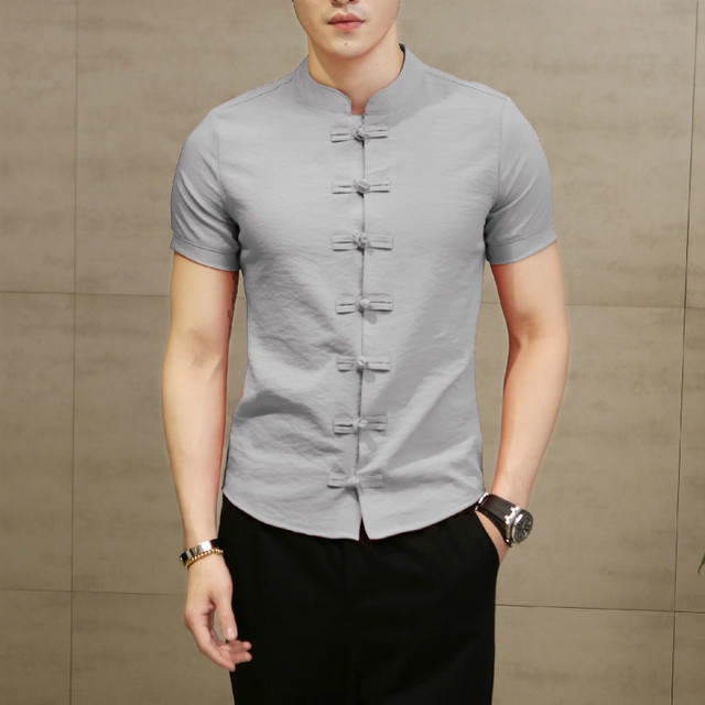 Chinese Style Men Shirt 2018 New Summer Cool Solid Color Fashion Casual Shirt Flax Slim Soft Comfortable Short-sleeved Shirt 1