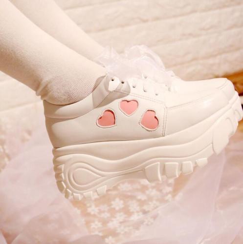 Womens Platform Sneaker Round Toe Lace Up Lolita Wedge Heels Sport Shoes Fashion Sweet Heel 7CM
