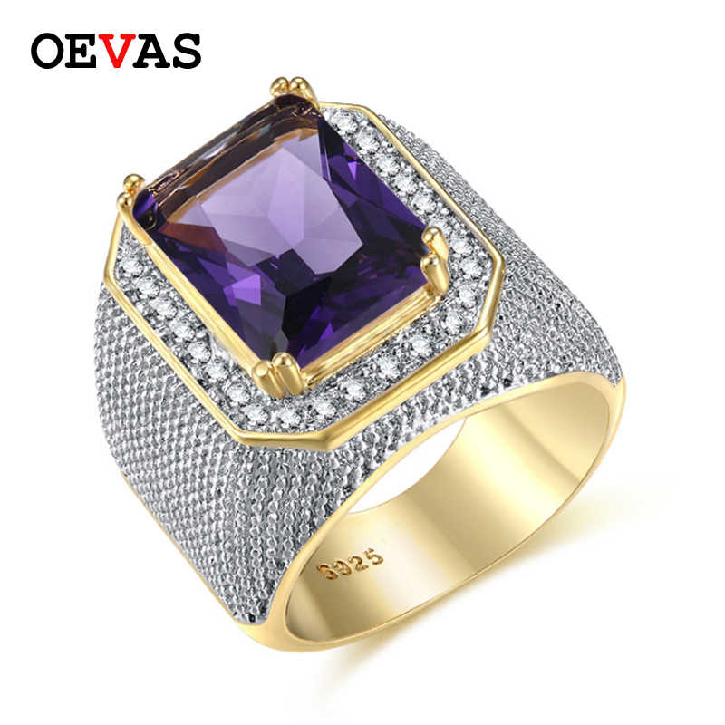 Hip hop Big Stone men ring High quality Gold color Purple Pink White Yellow  CZ rings 3ea9efb7d472