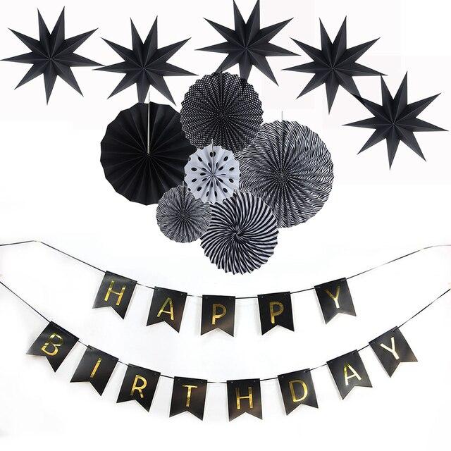 6050d2daba 12 pz/set di Carta Fan Decorazione di Nozze Bianco e Nero A Tema Favore