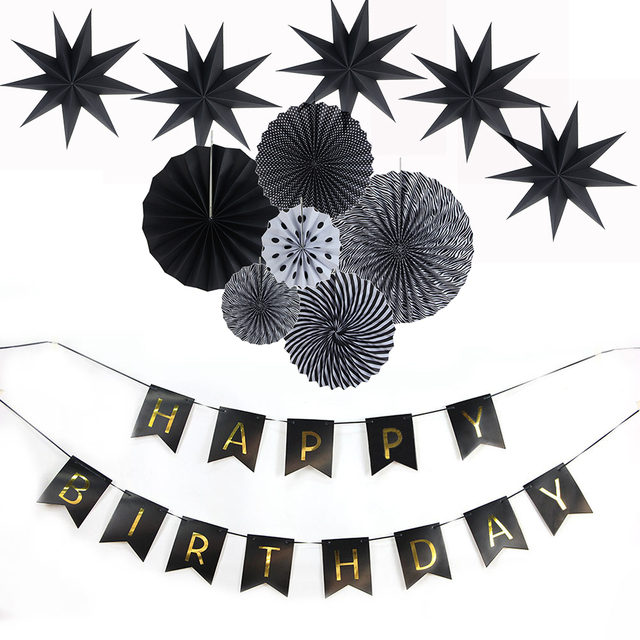 Black Theme Party Decorations Happy Birthday Adult Party