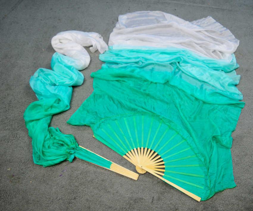 Высокое качество 100% шелк 1 пара танец живота вентиляторы Танцевальное представление шелковые длинные вентиляторы мятный зеленый + светло-мятный зеленый + белый цвета 180x90 см