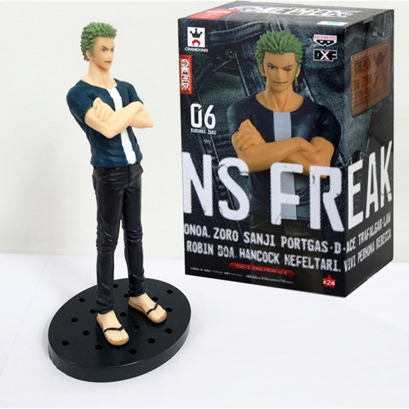 17cm One Piece Figure Jeans Freak Roronoa ZORO PVC Action Figures Onepiece Toy Doll Model Collection Toys