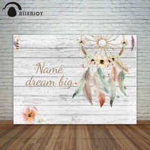 Allenjoy backdrop white wooden board background with dreamcatcher flowers Bohemian style personal design fund photography