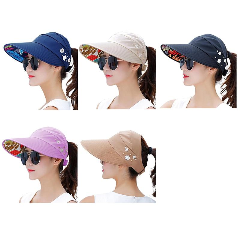 dcb398fc516 UPF50+ Baseball Cap for Women Summer Sun Hat Adjustable Foldable Package  Beach Hat Floppy Visor Large Wide Brim Ponytail Hole-in Baseball Caps from  Apparel ...