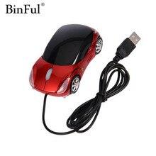 BinFul 1600DPI Mini Car shape USB optical wired mouse innovative 2 headlights mouse for desktop comp