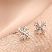 Coleon 100% 925 Sterling Silver Stud Earrings Fashion Cross Gem Stone Earring Women Fine Jewerlry for Party Birthday Gift