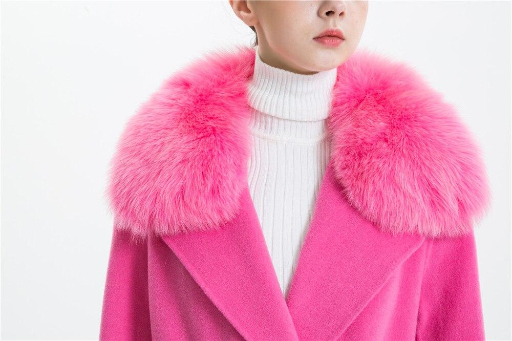 Las mujeres abrigo de cachemir con cuello de piel de zorro chaqueta de lana con cinturón invierno otoño Slim dama 2018 largo abrigo de las mujeres abrigo de lana - 3