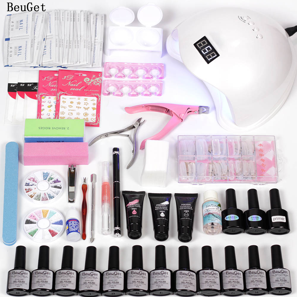 nail art tool Poly Gel set Crystal quick extension gel Nail Gel tools for manicure gel varnish set UV LED with 48w led nail lamp