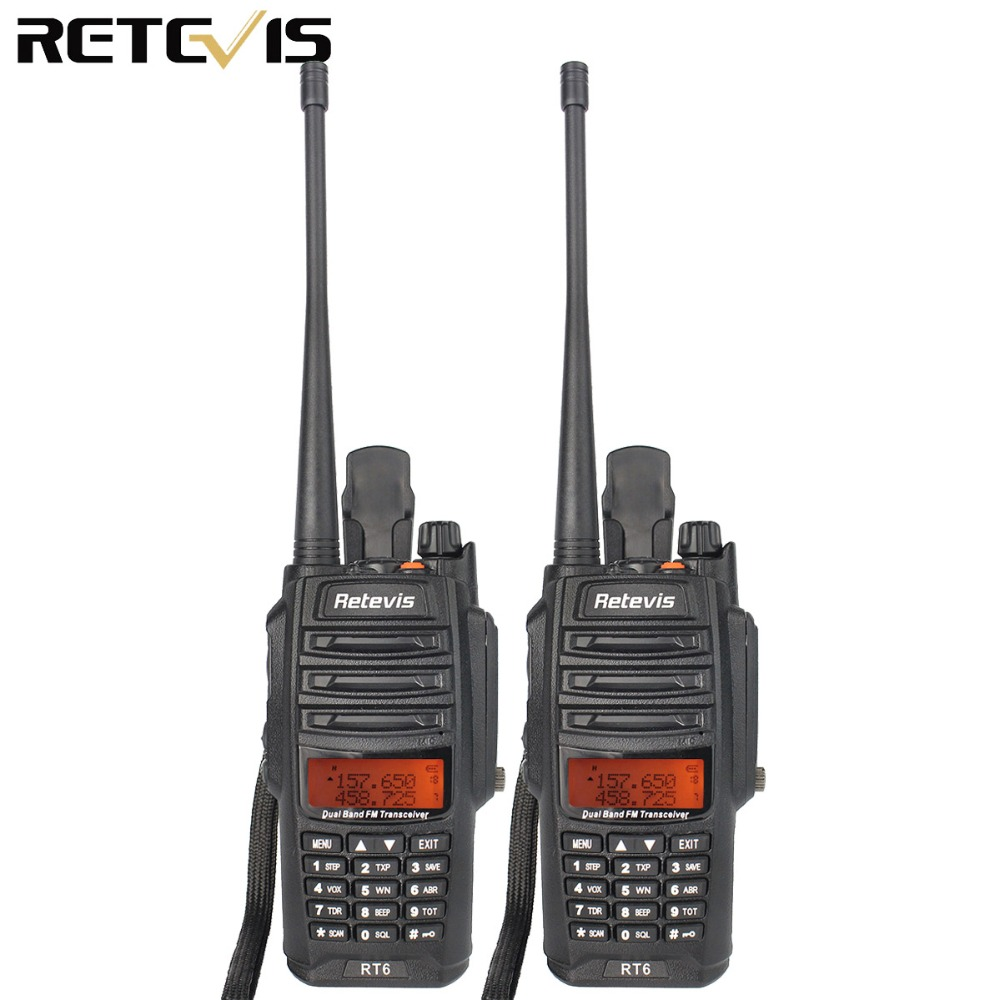 2 pcs Retevis RT6 IP67 Étanche Talkie Walkie 5/3/1 w VOX FM Radio SOS Alarme Double bande VHF UHF Ham Radio Hf Émetteur-Récepteur