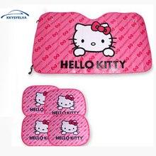 KKYSYELVA Hello Kitty Pink Sombrillas LINDO papel de aluminio Del Coche Del Parabrisas Del Coche Reflexivo Sombrillas de Coches Ventana Parasol Frontal