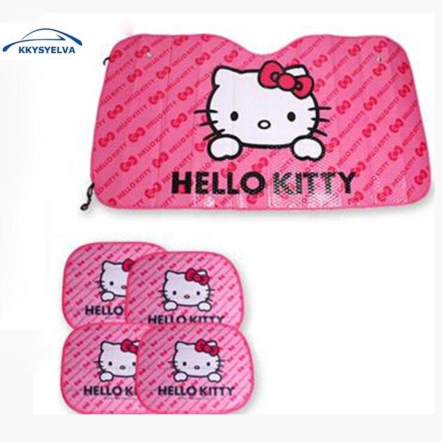 KKYSYELVA Hello Kitty Pink Sunshades CUTE aluminum foil Car Windshield Reflective Car Front Side Car Window Sunshade Sunshades