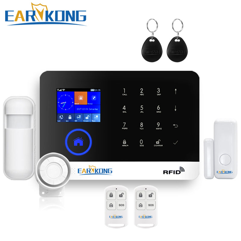 Wireless Home Burglar Wifi GSM GPRS Alarm System English Russian Spanish German Polish Italian French RFID Card Android IOS APP smartyiba wireless gsm wifi home security burglar alarm system kit android ios app remote control french polish russian spanish