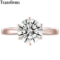 Transgems Classic 10K Rose Gold 3ct 3 Carats 9mm GH Color Moissanite Solitaire Engagement Anniversary Ring for Women Wedding