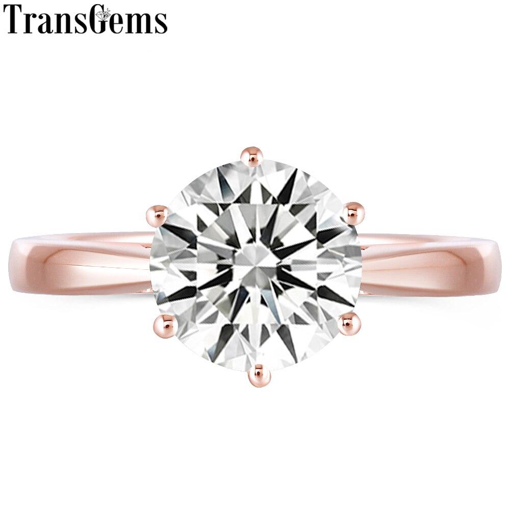 Transgems Classique 10 K Rose Or 3ct 3 Carats 9mm GH Couleur Moissanite Solitaire bague de fiançailles pour les Femmes De Mariage