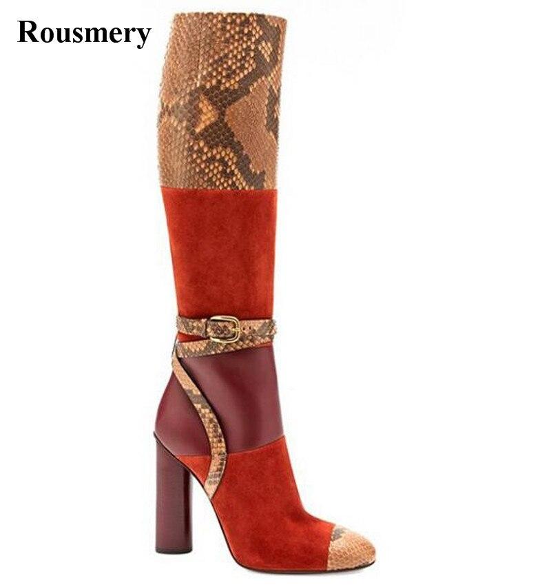 Женские Модные лоскутные Сапоги до колена из змеиной кожи на толстом каблуке с пряжкой, разноцветные высокие сапоги