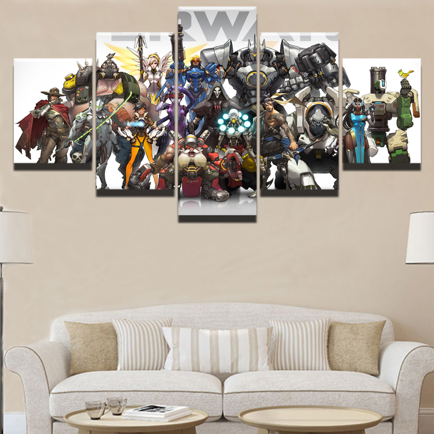 Wall Art 5 Panel Overwatch Character Painting Modern Home Decorative Canvas HD Prints Picture Wall Decor Unique Game Posters in Painting Calligraphy from Home Garden