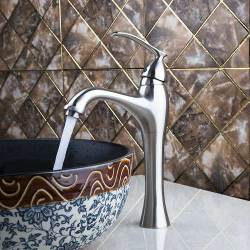 YANKSMART Waterfall Single Handle Brushed Nickel Basin Sink Bathroom Deck Mounted Single Hole Ceramic Faucet  Mixer Tap MF-750