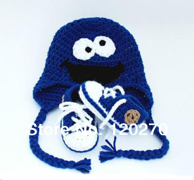 5d49f8a98d2 Free Shipping Crochet Baby Boys Cookie Monster Beanie Knitted Hat Sports  Shoes 2 Piece Set Infant Toddler Children s Suit Cotton