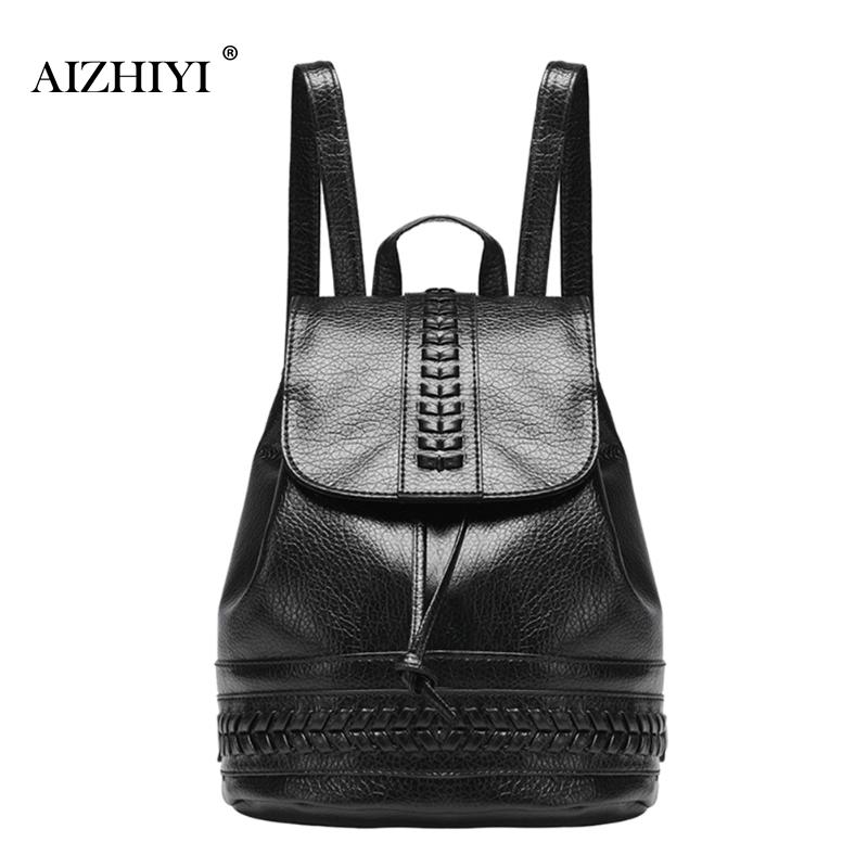 Women Black Travel Backpack Female Leisure Backpack Student Schoolbag Soft PU Leather Bag Vintage Drawstring Shoulder Backpack
