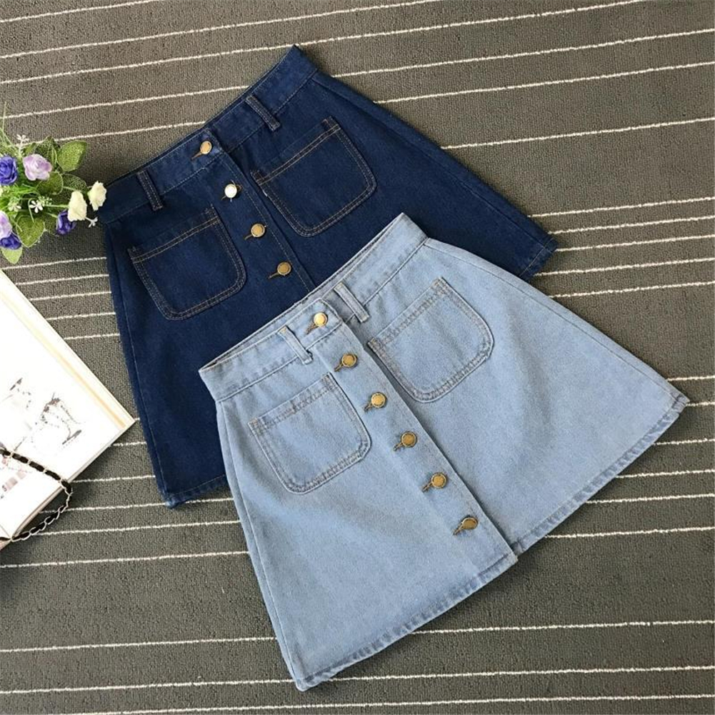 Denim Skirt Spring Summer Women Short A-line Buttom Skirts High Waist Slim Pocket Clothes For Female Causal Summer Women Skirt 13