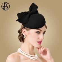FS Fascinator dla kobiet elegancki czarny kaszkiet wełna filcowa fedora ślub kościół Vintage Party Kentucky Derby kapelusze wino czerwone