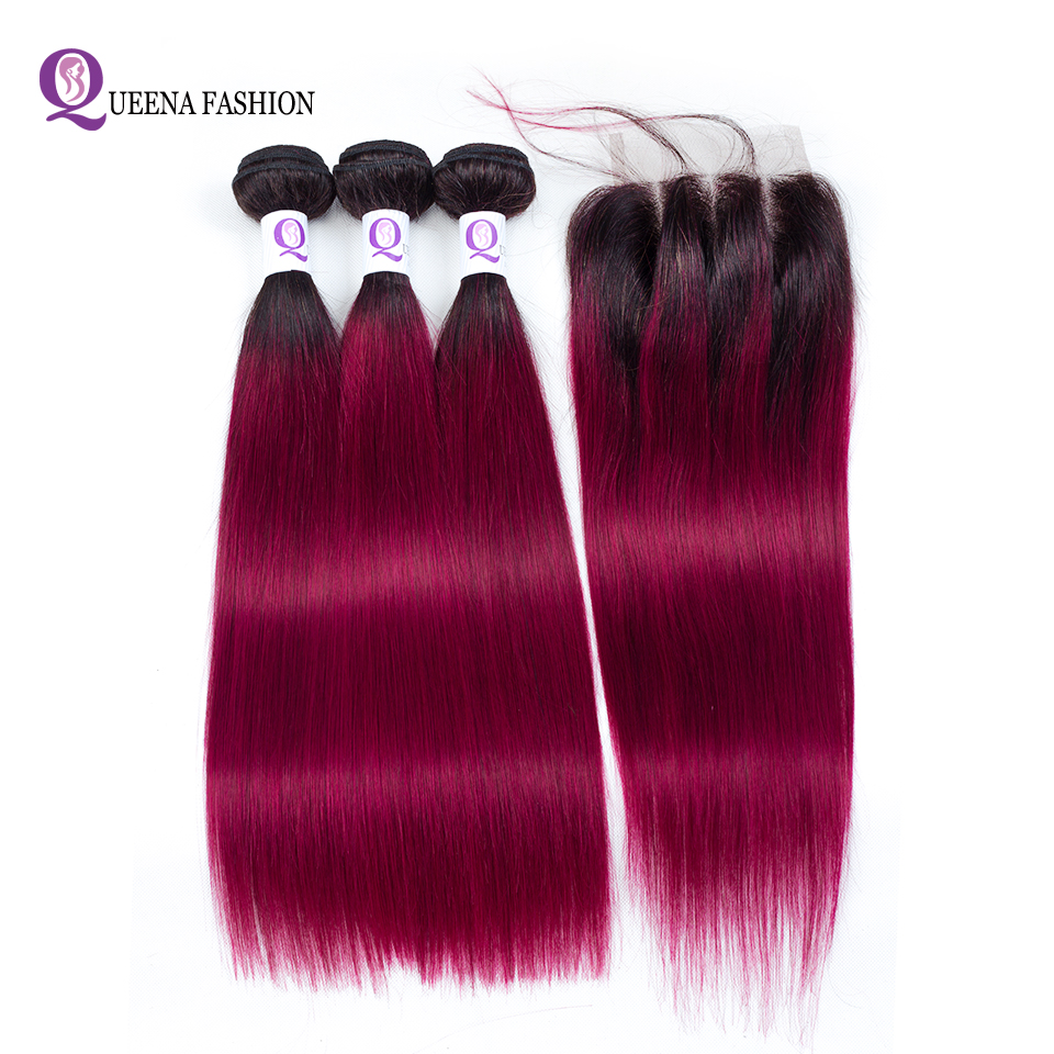 Queena Fashion1b/Burgundy Ombre Human Hair 3 Bundles With Lace Closure 99j Red Ombre Peruvian Straight Hair Bundles With Closure