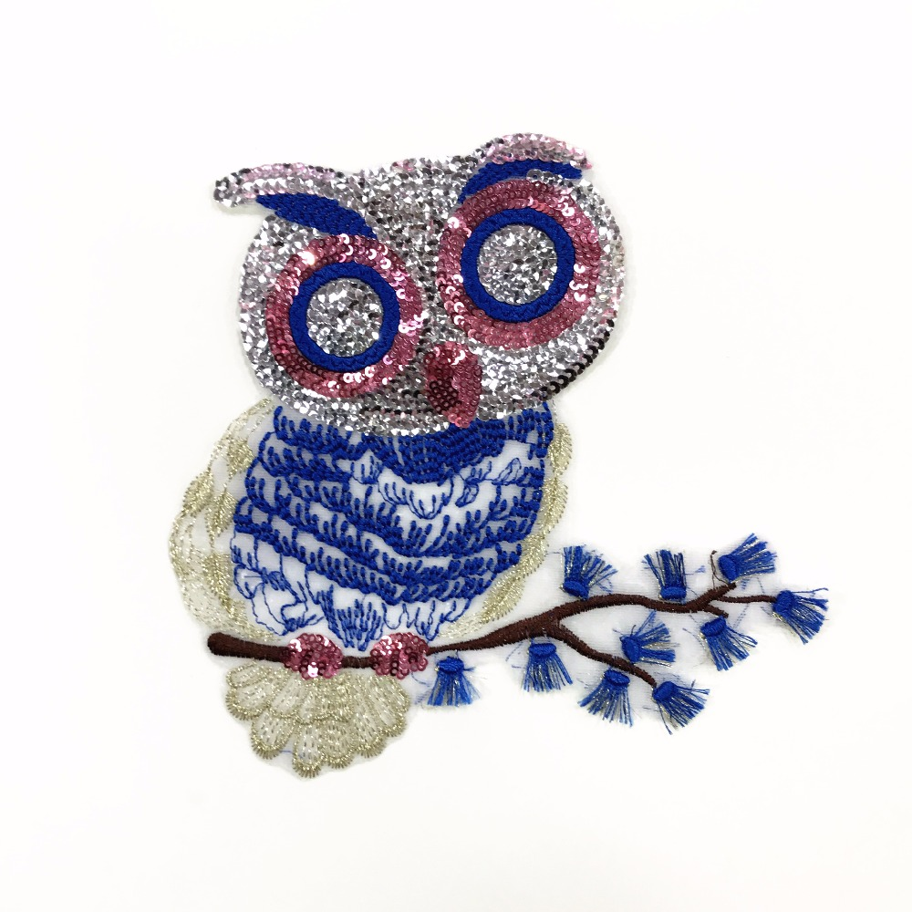 Owl sequins patch applique vintage paillette embroidered for Applique decoration
