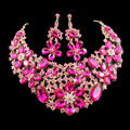latest african beads for women wedding gold plated  jewelry sets necklace and earrings Rose red colors free shipping jiayijiaduo