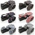 Men Refined Cotton Flower Paisley Floral Neck Bow Tie Hanky Pocket Square Set BWTST0058