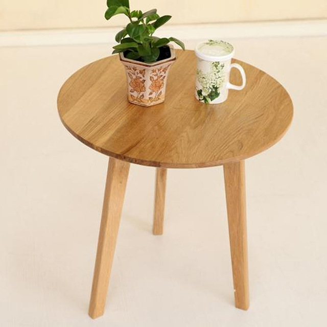 Whole Outlet Nordic Pure White Oak Wood Coffee Table Small Round Cafe Tables Minimalist Dining