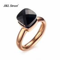 Trendy Rose Gold Color Cubic Zircon Rings For Women Jewelry Stones Stainless Steel Luxury Female Rings