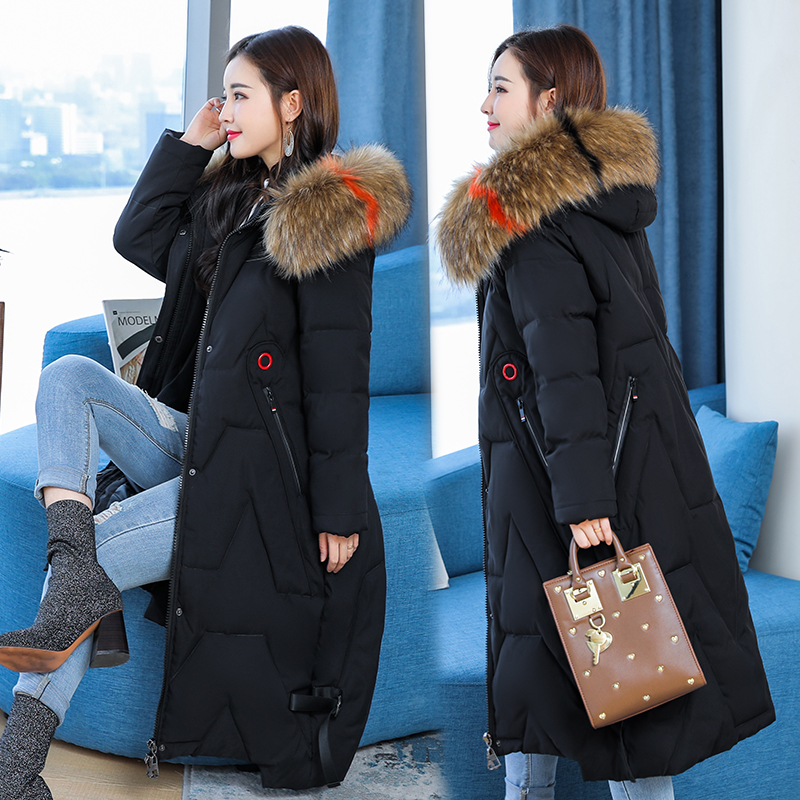 L'épaisse De D'hiver Manteau 3 2 Bas 1 Femmes Veste Taille Longue Camouflage Coton Fourrure Col Le Grande Vers Section Version Coréenne Lâche wXnz7q4x