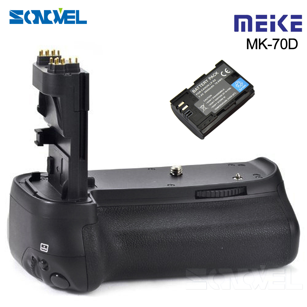 цена на with LP-E6 Battery Meike MK-70D Vertical Battery Grip Holder For Canon EOS 70D 80D DSLR Camera as BG-E14