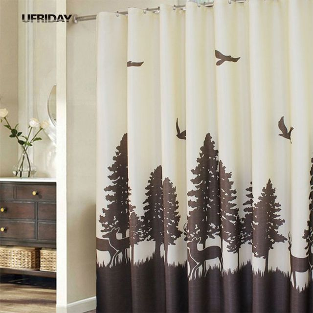 UFRIDAY Nature Theme Shower Curtain Modern Design Polyester Bath Deer In The Forest Pattern Bathroom