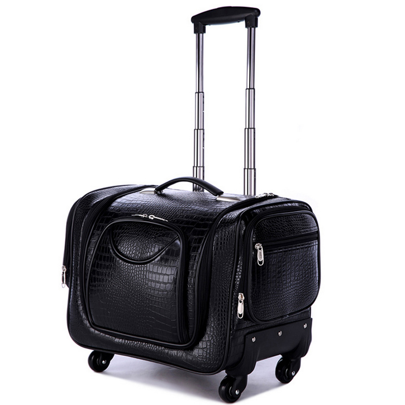 PU Leather Multifunction Cosmetic Case Rolling Luggage Spinner Suitcase Wheels Trolley Cabin Women's Handbag Travel Bag vintage suitcase 20 26 pu leather travel suitcase scratch resistant rolling luggage bags suitcase with tsa lock