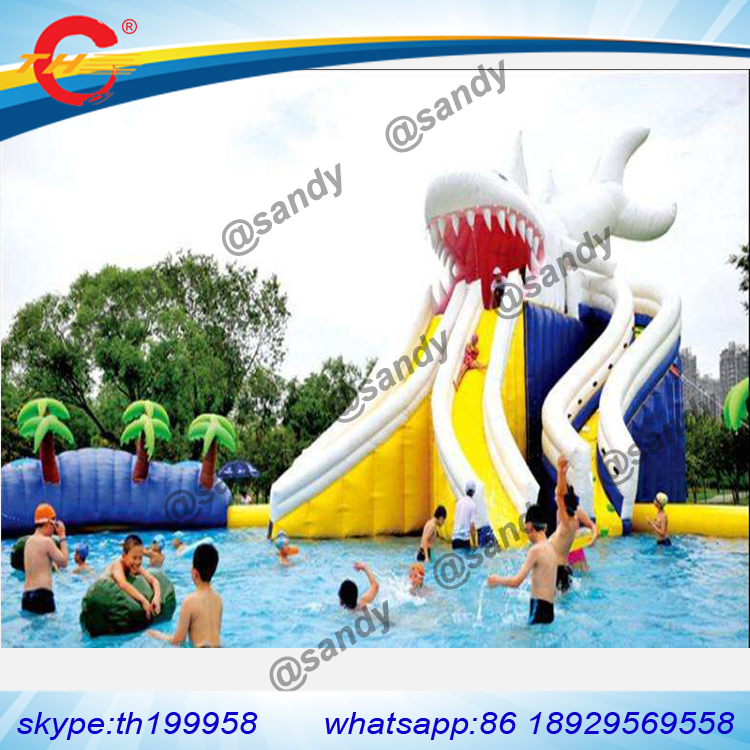 free sea ship to port,Giant shark Inflatable Water Park slide with big pool for kids and adults