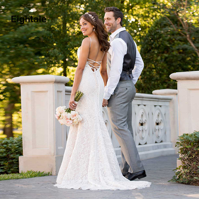 Eightale Lace Wedding Dress The Bride Sweetheart Spaghetti Strap Backless White Wedding Gowns Boho Mermaid Bride Dress trouwjurk