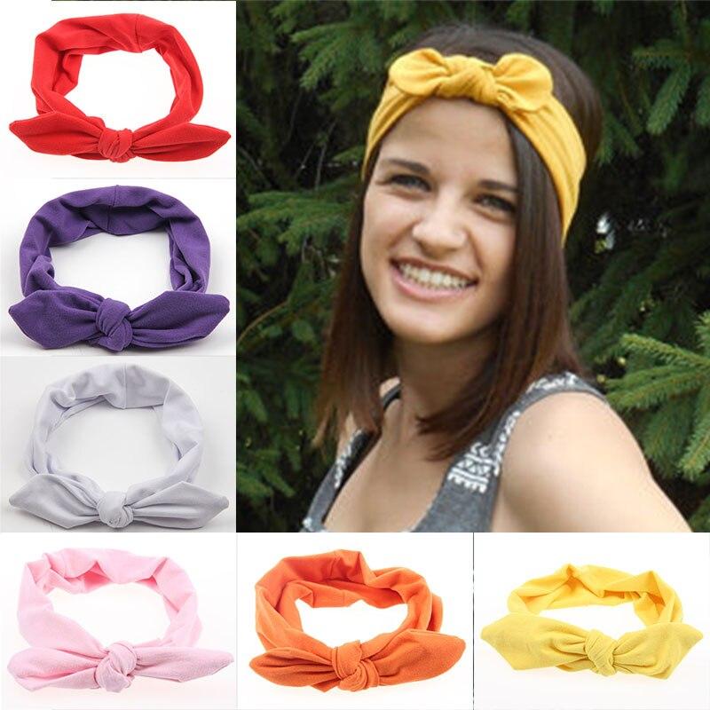 Lovely Elastic Stretch Plain Rabbit Bow Knot Hairbands Hair Grips Headband Head Bands Turban Headwear Hair