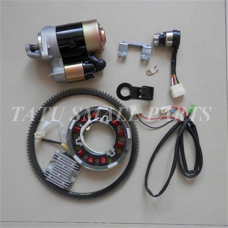ELECTRIC START KIT CW DRECT.  FOR  DIESEL 186F 9HP  TILLER 5KW GENERATOR W STARTER MOTOR TOGGLE SWITCH  FLYWHEEL CHARGE COIL