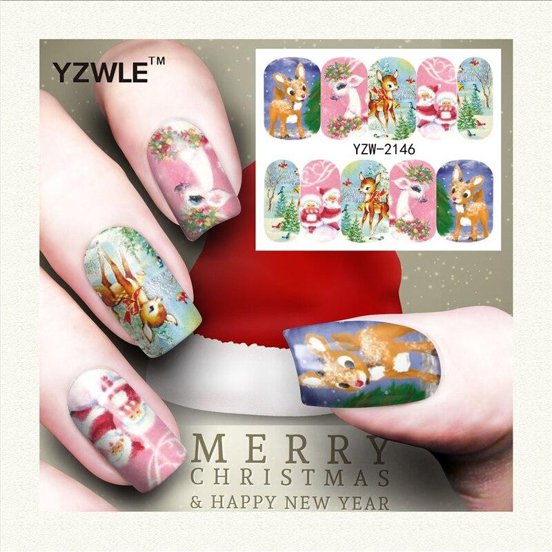 YZWLE 1 Лист Рождественские Дизайн DIY Наклейки Ногтей Вода Трансферная Печать Наклейки Аксессуары Для Маникюра Салона (YZW-2146)