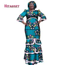 2017 New African Dresses for Women Printing Dashiki Dress & HeadtieAfrican Casual Indian Traditional Clothing big Size WY1653