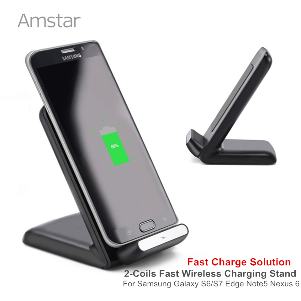 Amstar 10W Fast Wireless Charger 2Coils Qi Charger