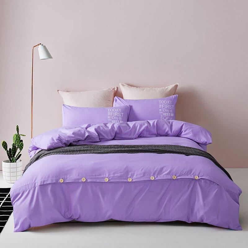 Nuevo Hogar Textil Duvet Cover Set Juego de Cama de Poliéster de Color púrpura J
