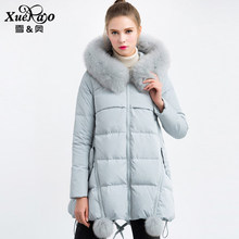 2016 new hot winter Thicken Warm woman Down jacket Coat Parkas Outerwear Hooded fox Fur collar Loose Mid long size XL Luxury