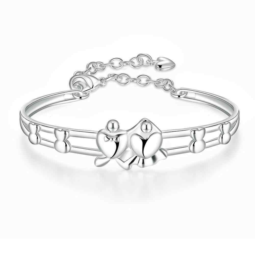 Jewelry Silver color Two Layer Charm Bracelets For Women Double Heart Fashion Valentine's Day Gift