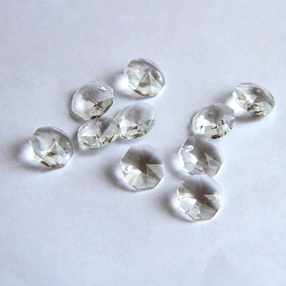 50pcs/100pcs/1000pcs 14mm Crystal Glass Prisms Octagonal Beads Pendant Hanging Prisms For DIY Lighting Lamp Part Decoration