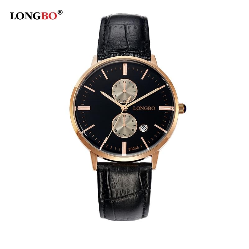 LONGBO Brand Lovers Genuine Leather Watch 2016 Women Casual Simple Quartz Watch Men Sports Waterproof Wristwatch